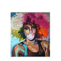 キャンバスのポスターとプリントの抽象的なバブルガムガールアフリカの女性の油絵リビングルームの壁アート画像-60x90cmx1フレームなし
