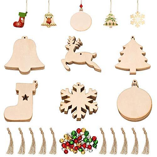 Seully 60 Piezas Adornos Navideños de Madera,100 Piezas Cascabeles, Adornos de árbol de Navidad con Cuerdas, Colgantes en Forma de árbol de Navidad de Madera, Decoración Navideña