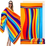 """Cottdy Oversized Microfiber Beach Towel Extra Large Microfiber Super Absorbent Quick Dry Sand Free Pool Towels for Kids Adults Womens Swimming Bath Gym Outdoors Towel 39 x 70inch (Orange, 39×70"""")"""