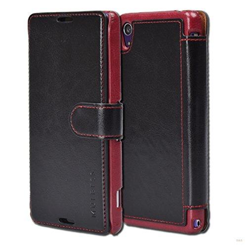 Mulbess Handyhülle für Sony Xperia Z2 Hülle Leder, Sony Xperia Z2 Handy Hüllen, Layered Flip Handytasche Schutzhülle für Sony Xperia Z2 Hülle, Schwarz