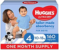 Ultra Dry Nappies Boy Size 4 (10-15kg)1 Month Supply 160 Count