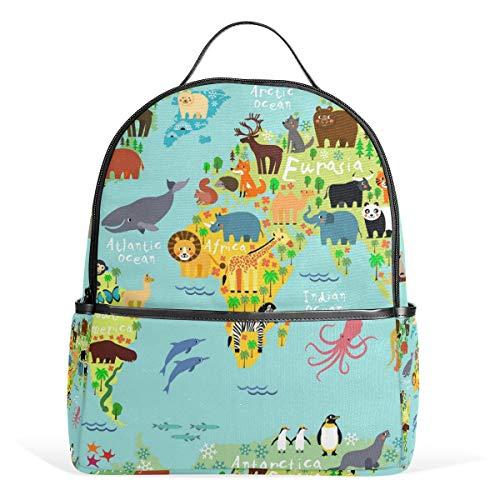 WowPrint Rucksack, Weltkarte, Tiermuster, Büchertasche, Schulrucksack, Rucksack, Wandern, Reisen, Tagesrucksack