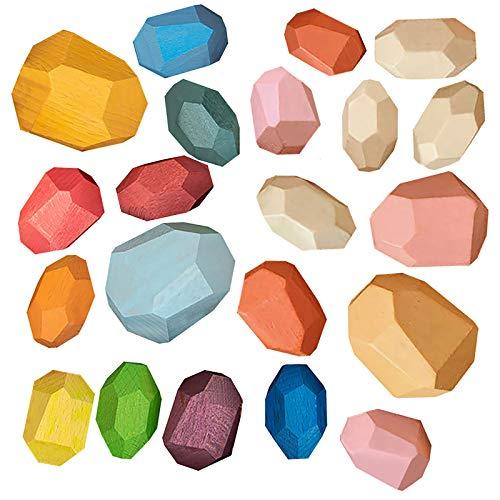 Auspielzeug Für Kinder, Kombination Von 21 Gestapelten Steinen Buchenholzfarbe, Weihnachtsgeburtstagsgeschenke Für Kinder