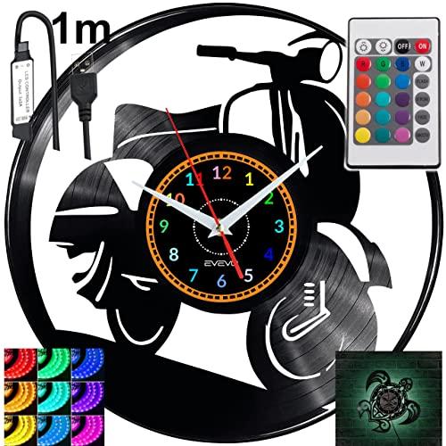 Vespa RGB LED Pilot Reloj de pared para mando a distancia, disco de vinilo, moderno, decorativo para regalo de cumpleaños