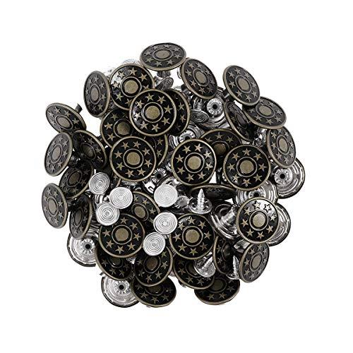 SUPVOX Botones Kit Jeans Remache Estrellas Jean Tack 50pcs 17mm (Verde Ejército)