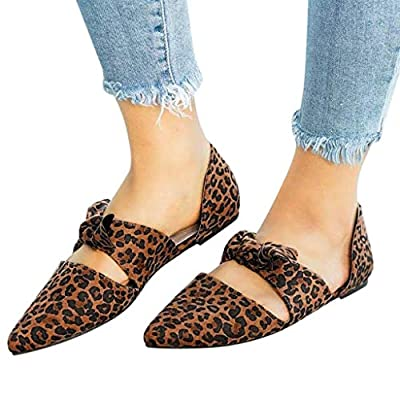 YKARITIANNA Fashion Summer Flat Casual Shoes Leopard Bow Pointed Toe Pumps Women's Shoes