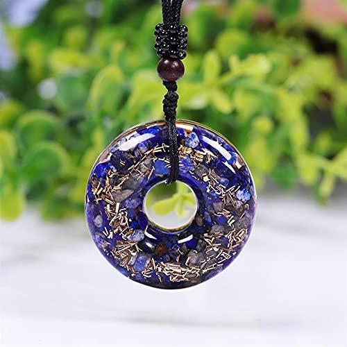 KAUG Colección Orgon Colgante Lapis Lazuli Energía Orgonita Donut Necklace Curación Chakra Joyería para Amor Comunicación y Belleza
