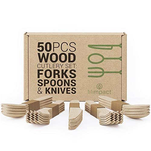Lilimpact - Disposable Wooden Forks Spoons Knives Set  Alternative to Plastic Cutlery - Eco Biodegradable Replacements 50 Count - 20 Forks 20 Spoons 10 Knives 50