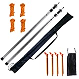 Orgrimmar Adjustable Tarp Poles Set of 2 Telescoping Aluminum Rods Portable Lightweight Replacement Tent Poles for Camping Awning Backpacking Hiking Hammock Rain Fly