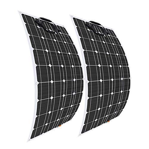 Giosolar Solarpanel, 100 W, 12 V, flexibel, hocheffizient, monokristallin, für Wohnmobil, Wohnwagen, Wohnmobil, Boot, Yacht, 2 Stück