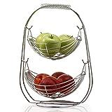 Plateau de fruits Plateaux, fruits Bol en acier inoxydable Salon Creative Maison moderne table à thé Égoutter Fruit Basket Fruit Bowl multi-couche européenne multifonctionnelle plaque de fruits Xping