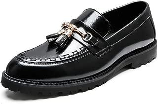 Bin Zhang Formal Oxfords for Men Date Loafers Slip on Microfiber Leather Pointed Toe Stitching Block Heel Metal Decor Tasseled Soft Non-Slip (Color : Black, Size : 7.5 UK)
