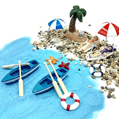 EMiEN 18 piezas playa estilo Kits Set Para DIY figura decorativa en miniatura jardín de hadas decoración para muñecas, azul arena, para las niñas, silla de playa, barco, remos