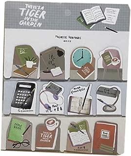 12Pcs Office Decor Themed Magnet Bookmarks Mini Zakka Magnetic Paper Clips