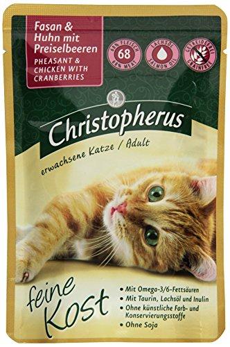 Christopherus Alleinfutter für Katzen, Nassfutter, Erwachsene Katze, Fasan und Huhn mit Preiselbeeren, 12 x 85 g Beutel