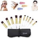 Vander 10 juegos de pinceles de maquillaje set oro tubo blanco