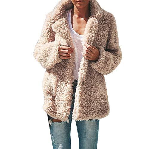 Longra Damen Wintermantel Wollmantel Warm Winter-Jacke Steppjacke Revers Parka Outwear Oberbekleidung Damen Mantel Faux Pelzmantel Teddy-Fleece Mantel Fleecejacke (S, Beige)