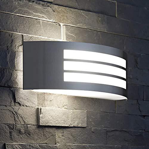 CGC - Lampada da parete in acciaio inox curvo per esterni, richiede 1 lampadina E27 standard a vite IP54 per interni ed esterni, giardino, veranda, porticato