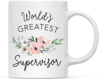 Andaz Press 11oz. Coffee Mug Gift for Women, World's Greatest Supervisor Mug, Bohemian Pink Anemone Floral Flower, 1-Pack, Drinking Cup Birthday Christmas Promotion Graduation Gift Ideas for Her