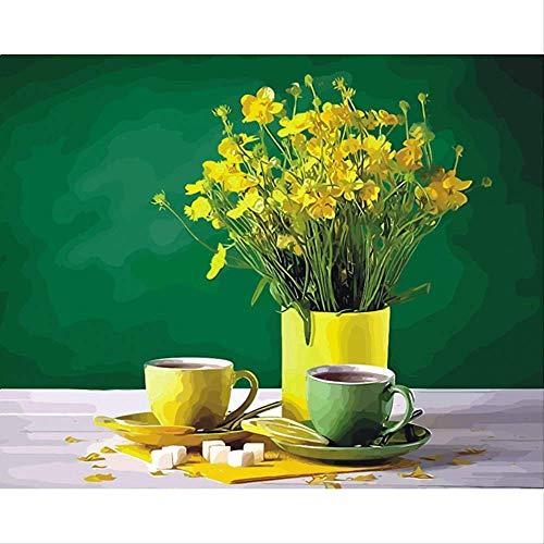 Sunhaon lekkere koffie twee kopjes koffie olieverfschilderij afbeelding, op aantal digitale afbeeldingen chrysant kleuring, interieur 40x50cm