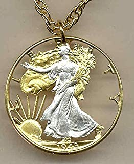 Old U.S. Walking Liberty Half Dollar - Beautifully Hand Cut out & 2-toned  (Uniquely Hand done) Gold on Silver coin Necklaces for women men girls girlfriend boys teen girls