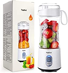 TOPESCT Mini Batidora Portátil Personal para Batidos y Smoothies - con 6 Cuchillas 3D y Vaso Exprimidor de 380 ml - Potente Máquina de Mano Mezcladora de Frutas de 4000 mAh Recargable por USB