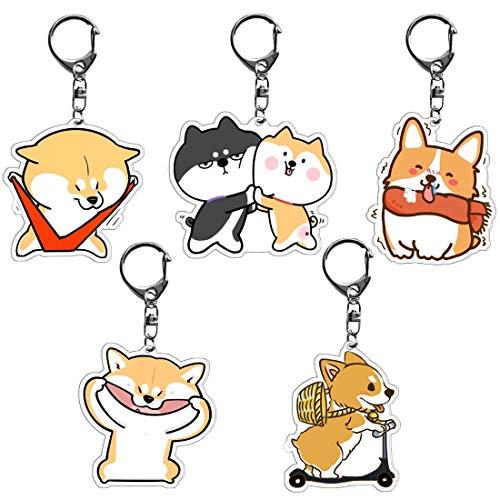 Llavero con colgante de perro - YUESEN Llavero con Colgante de Shiba Inu, para el coche, para el perro, bolso de mano, cartera, colgante, mochila, accesorios, joyería para el amante de los perros (ama
