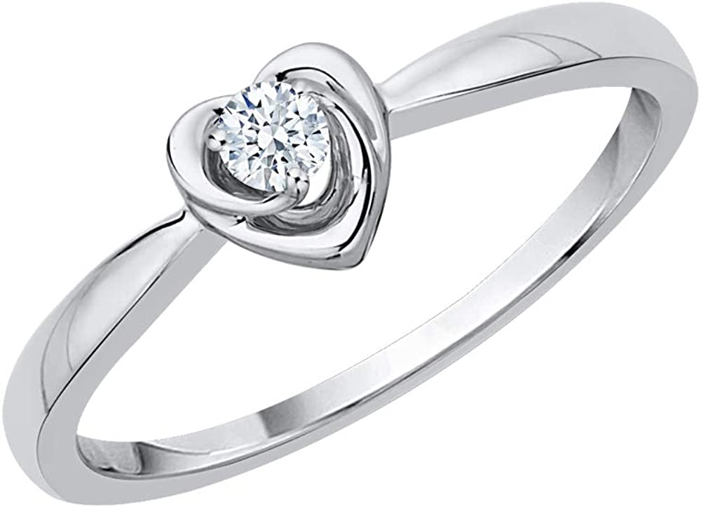 Ranking TOP17 KATARINA quality assurance Diamond Accent Heart Promise G Silver in Sterling Ring