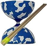 Juggle Dream Jester Diábolo y Palos de Control de Madera ( múltiples Colores Disponibles) (Azul / Blanco)