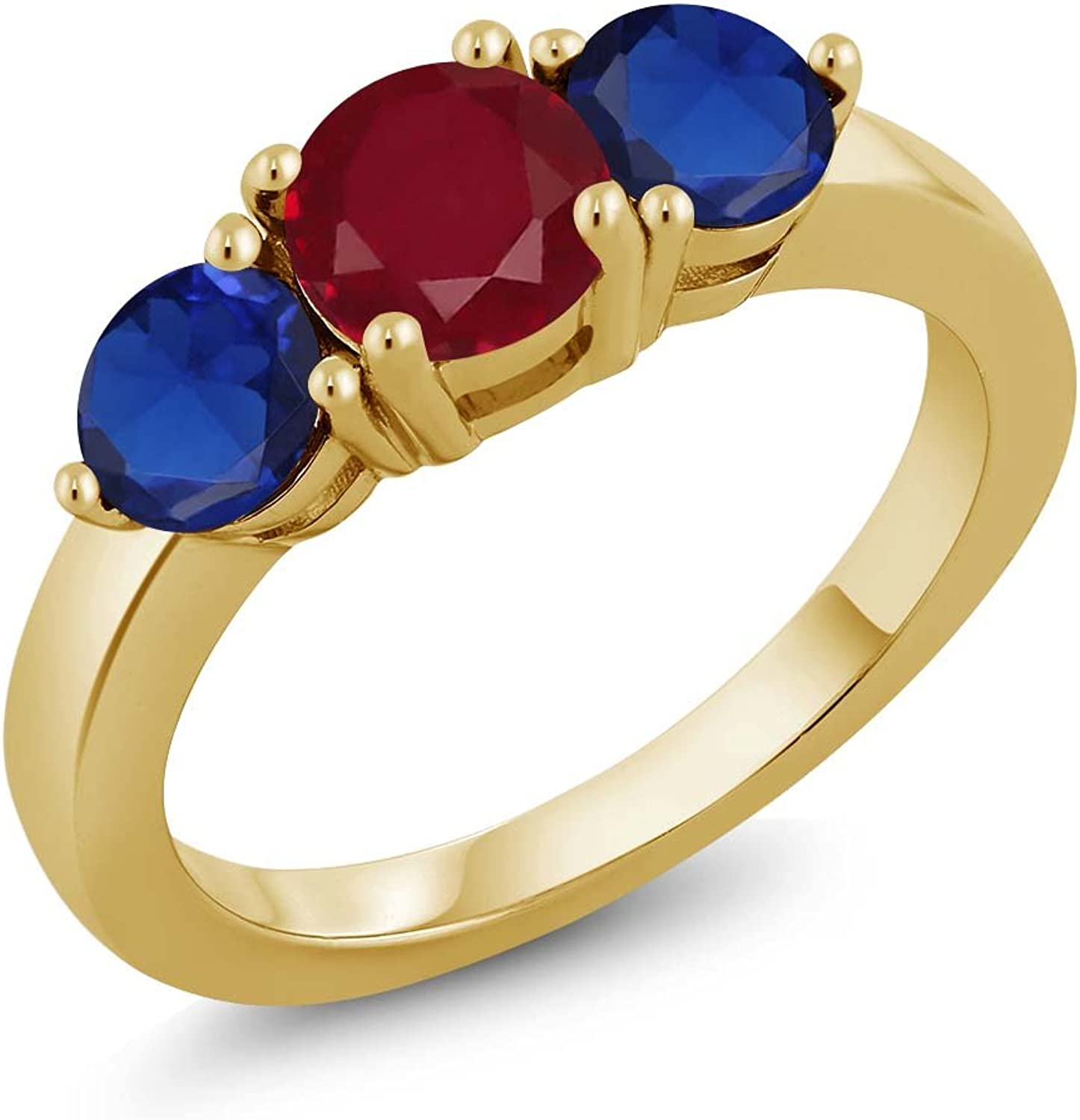 2.25 Ct Ruby and Simulated Sapphire 18K Yellow gold Plated Silver Earrings