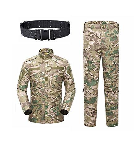 haoYK Military Camo Taktisch Anzug Männer Jagd Combat BDU Uniform Jacke Shirt & Hosen Anzug Camo Gürtel für Schießen Jagd War Game Armee Airsoft Paintball (CP, XL)