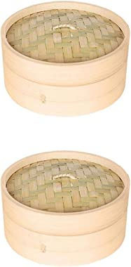 joyMerit 2 Pack of Bamboo Steamer Basket - 1-Tier Dim Sum Bamboo Steamer for Kitchen Cooking, 6-inches & 7-inches