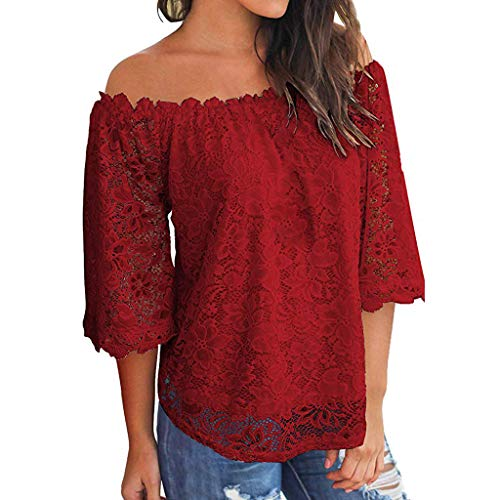 Zegeey Damen Oberteile T-Shirt Kurzarm Aus Festem Spitzen-Patchwork AushöHlen Bluse Top Sommer Shirt(X24-Wein,42 DE/XL CN)