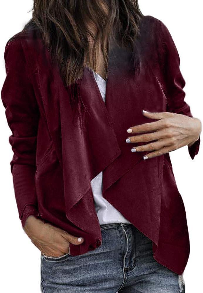 JPOQW-winter Women's Faux Suede Jacket Solid Color Lapel Long Sleeve Leather Work Office Short Coat