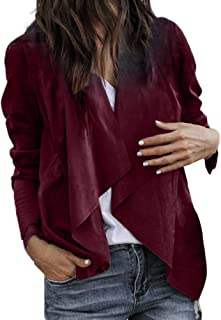 Leather Short Jackets Fashion Women Open Front Cardigan Long Sleeve Coat
