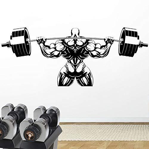 ASFGA Coole Fitness Club Wand Samurai Riesen Wandtattoo Liebe Leben Gewichtheben Wandaufkleber Übung Volumen zu Finden Gewicht Sport Kunst Wandbild 57x139cm