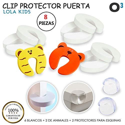 O³ Clip Protector Puertas Tope Puerta Bebe 8 Pcs - 6 Blancos + 2 Color + 2 Esquineras Protectoras   Bloqueo Puertas Bebe Para Bloquear Puerta