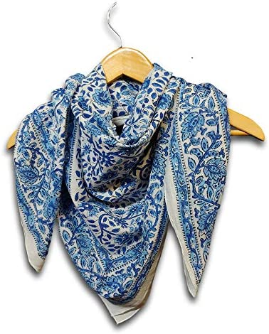 Large Cotton Scarfs for Women Lightweight Soft Sheer Neck Scarf Head Scarf Block Print Summer product image