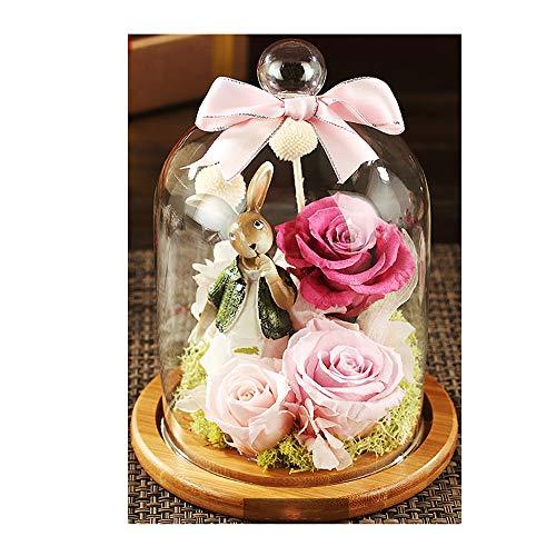 KUHU La Eterna bloem roos bloem glazen glazen pot decoratie huis droogbloem Lichtroze