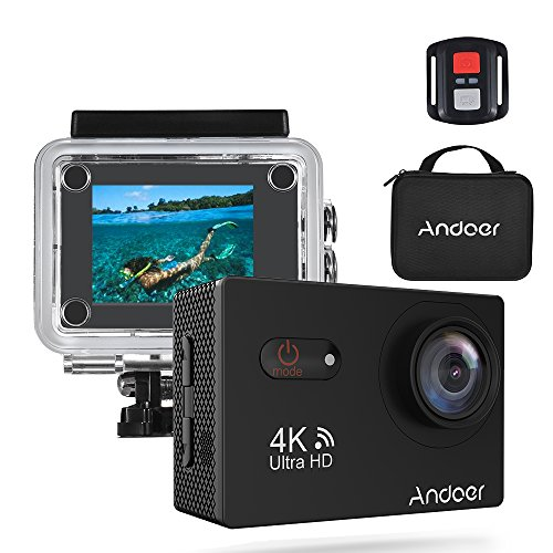 Andoer AN9000R WiFi Action Sports Camera 4K 16MP 2 inch Touchscreen 170° Wide Angle Lens with Remote Control and Waterproof Hard Case