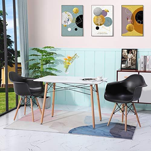 DORAFAIR 2 Sillón Tower Negro y Mesa Rectangular de Comedor, Juego de sillas de Comedor Moderna Nórdica