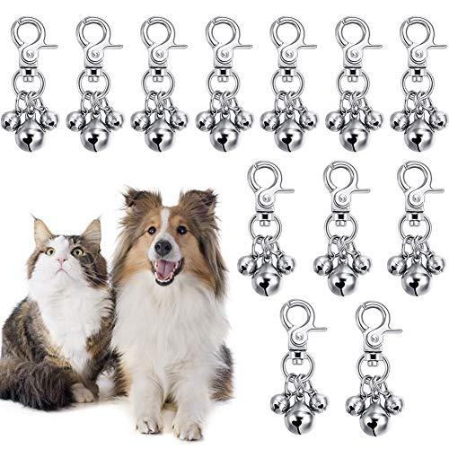 Packung mit 12 Haustierhalsbandglocken für Hunde Glocken für Katzen Hundekatze Charm Glocken für Halsbänder Anhänger Zubehör Haustier Hund Katze Dekoration