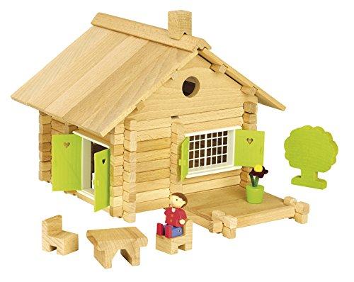 Jeujura - 8043- Jeux de Construction-Maison en Rondins - 135 Pieces