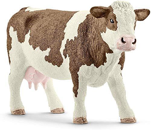 Schleich 13801 FARM WORLD Spielfigur - Fleckvieh Kuh, Spielzeug ab 3 Jahren