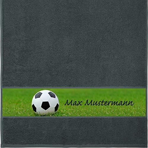 Manutextur Handtuch mit Namen - personalisiert - Motiv Sport - Fußball - viele Farben & Motive - Dusch-Handtuch - anthrazit - Größe 50x100 cm - persönliches Geschenk mit Wunsch-Motiv und Wunsch-Name