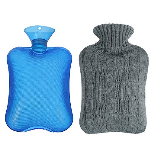 Shiney Warmwasserflasche aus Gummi transparent mit gestrickter Hülle – Blau