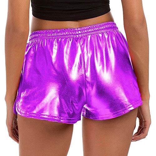Tantisy ◢ Women's Metallic Shiny Shorts Sparkly Rave Hot Short Pants with Pockets Elastic Waist, Women Novelty Shorts