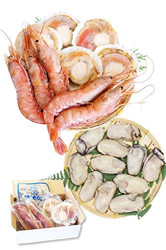 海鮮 詰め合せ 3種 セット 片貝 ほたて 5枚・赤 えび 5尾・ 牡蠣 400g【冷凍】 バーベキューセット 海鮮 bbq バーベキュー ホタテ 越前宝や