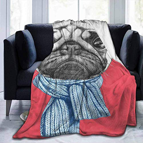 KENDIA Flannel Ultra-Soft Warm Cozy Plush Throws Blankets Pug, Winter Dog with Earmuffs, Soft Blankets for