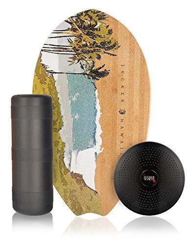 JUCKER HAWAII Balance Board Homerider Surf Nalu - Tabla de Equilibrio Balancetrainer con Rodillo y Cojin
